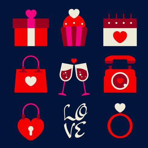 Retro insieme felice dell'icona dell'icona di Valentine Day vettore