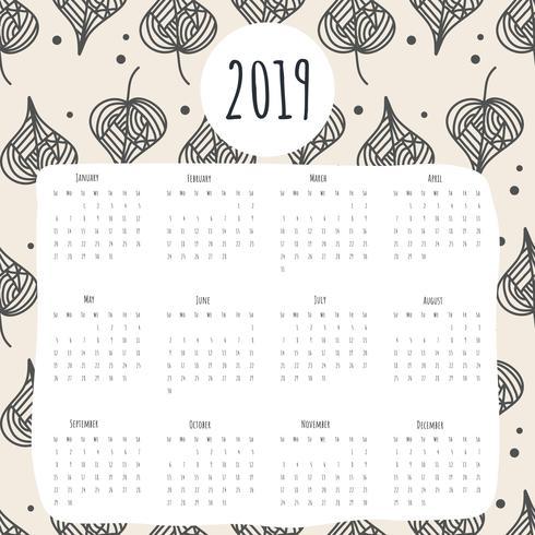 2019 druckbare Kalender Vektor