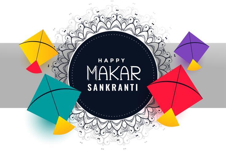 gelukkige makar sankranti festivalachtergrond met kleurrijke vliegers