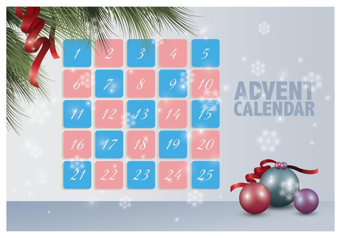Calendario de Adviento imprimible vector