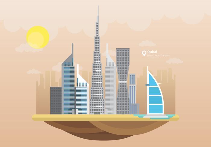Skyline da cidade de Dubai com edifícios famosos