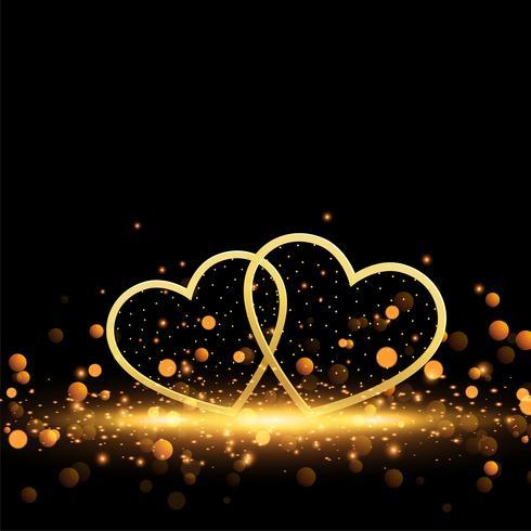 vackra gyllene hjärtan på gnistrar bakgrund