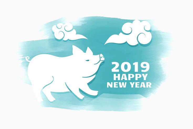 style aquarelle joyeux nouvel an chinois 2019 de conception de cochon