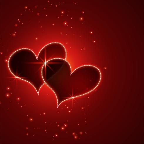 fondo rosso brillante dei cuori di giorno dei biglietti di S. Valentino