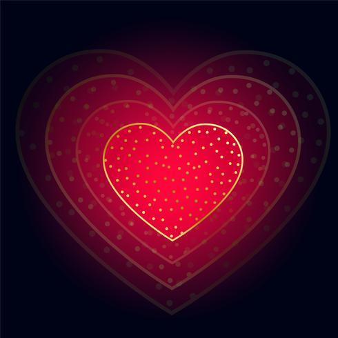 bellissimo cuore rosso incandescente su sfondo scuro