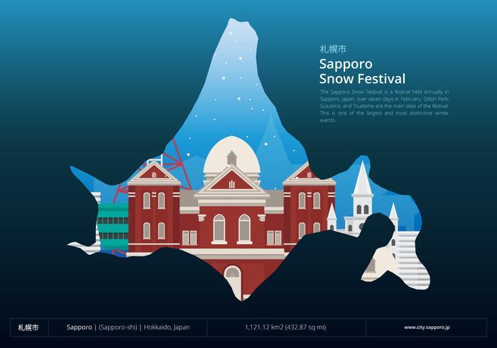 Sapporo Snow Festival con Sapporo Location vettore