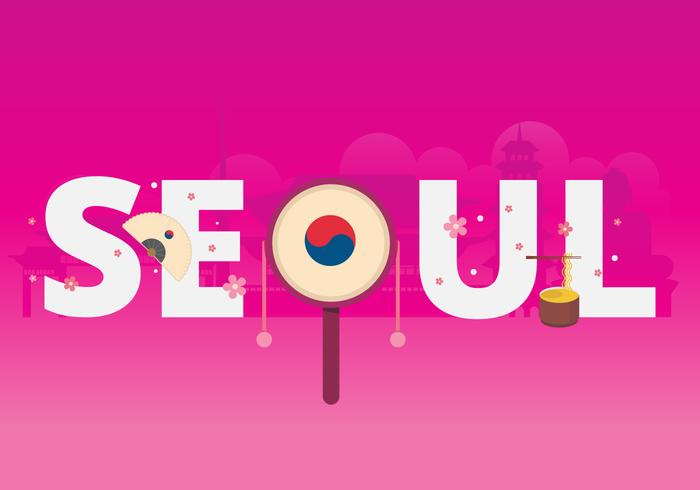 Tipografia della città di Seoul Corea con le costruzioni famose come fondo