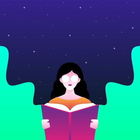 La ragazza sta leggendo l'illustrazione del libro vettore