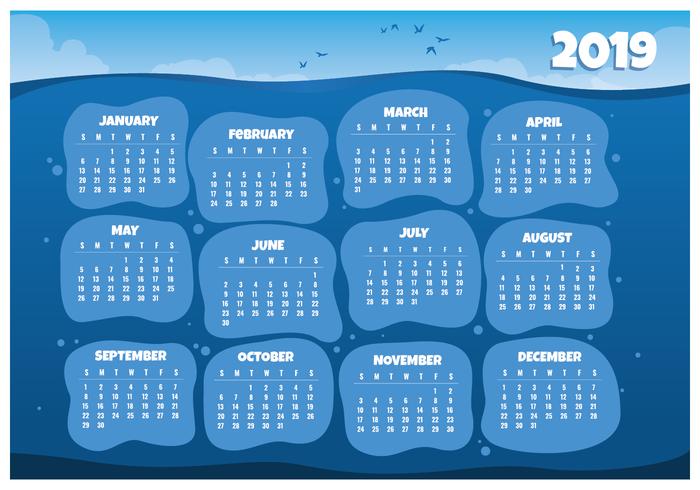 2019 Calendario calendario stampabile vettore