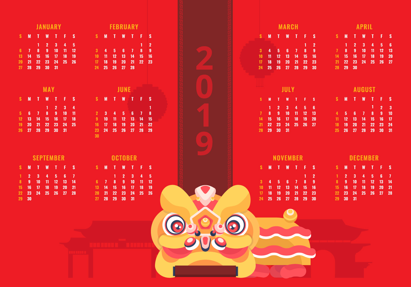 2019 printable chinese new year calendar