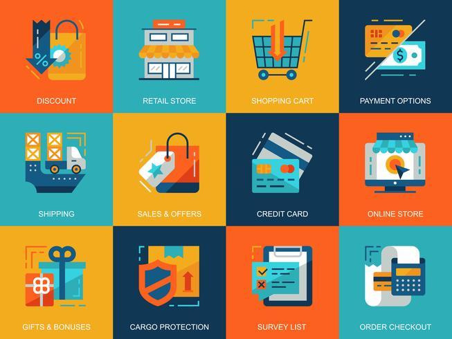 Einkaufen und E-Commerce-Icon-Set