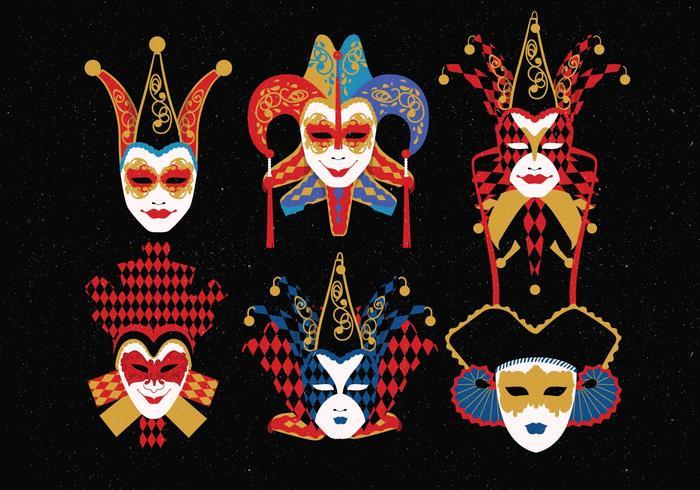 carnevale di venezia masques personnages vecteur