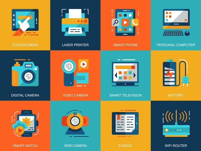 Conjunto de ícones de dispositivos de computador pessoal