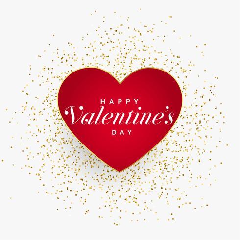 röda valentiner dag hjärta med glitter partiklar