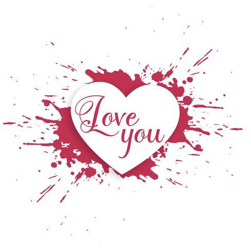 conception de coeur éclaboussures d'encre avec vous aimer message