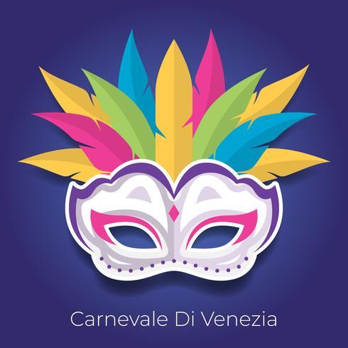 Máscara de carnaval com ilustração vetorial de penas coloridas