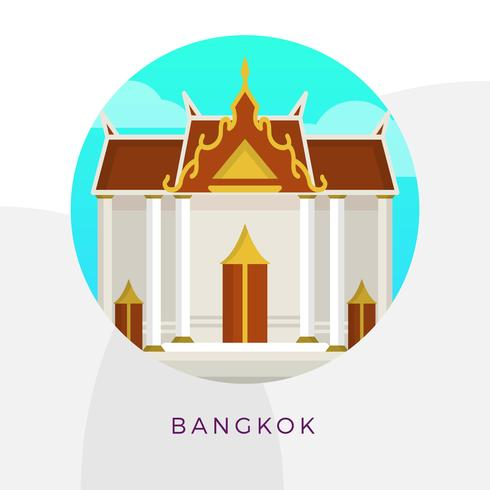 Flat Grand Palace Bangkok City Landmark Vektorillustration
