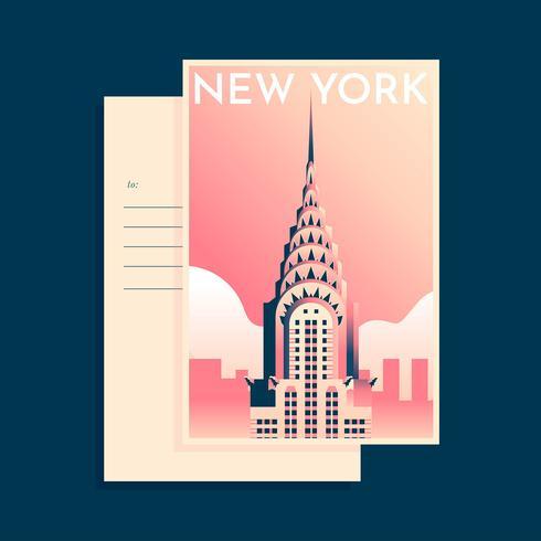 Modelo de cartão postal - marco do edifício de chrysler new york