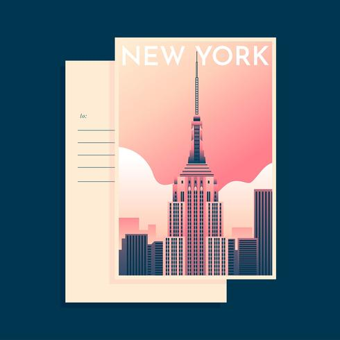 Empire State Building New York Landmark Postcard Template