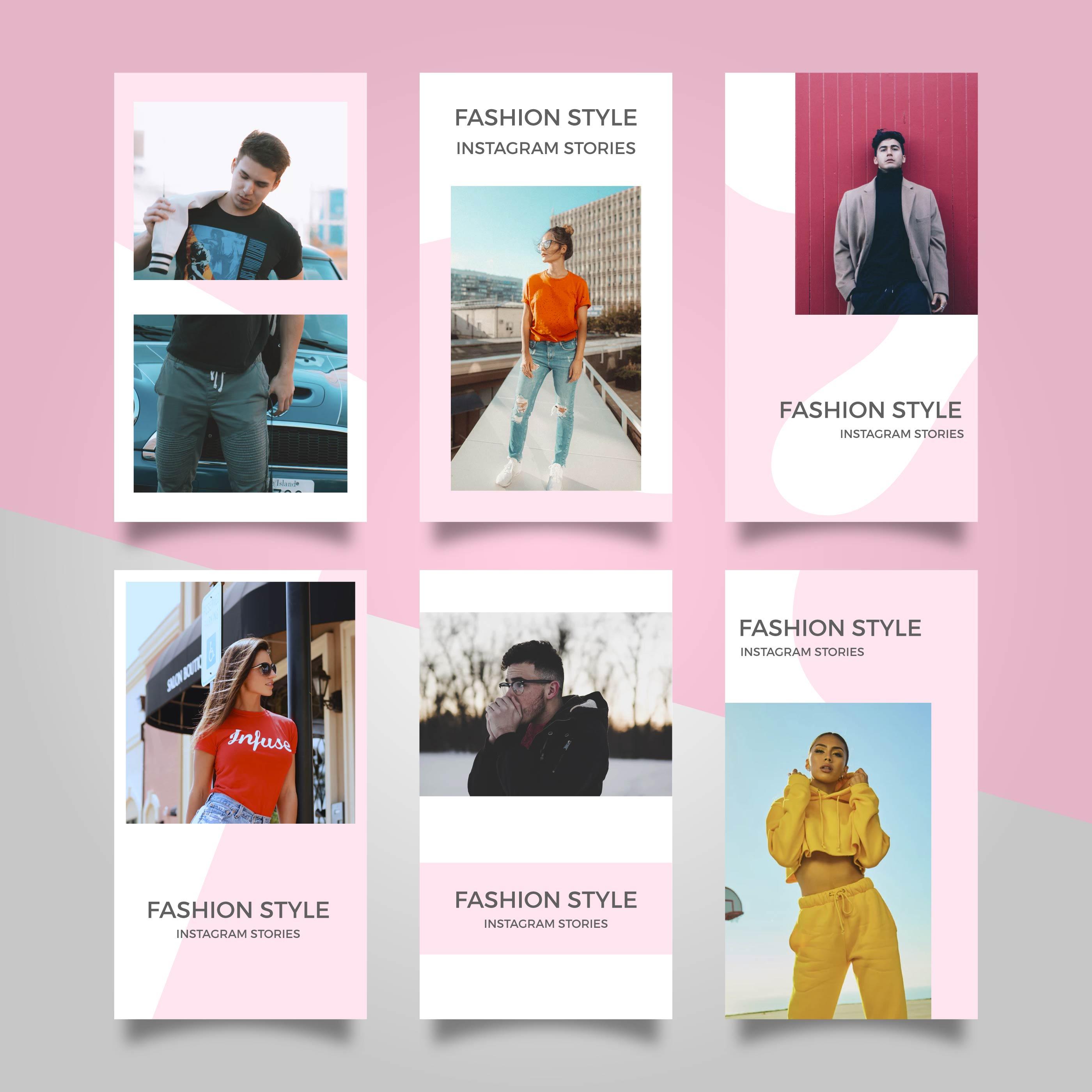 Vector Illustration Instagram: Flat Modern Pink Fashion Instagram Stories Vector
