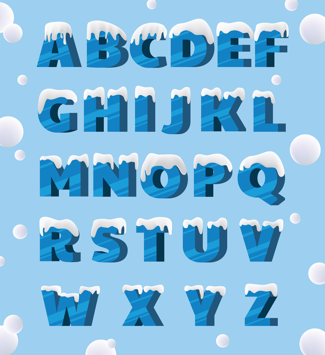 Download Icy Alphabets Vector Pack - Download Free Vectors, Clipart ...