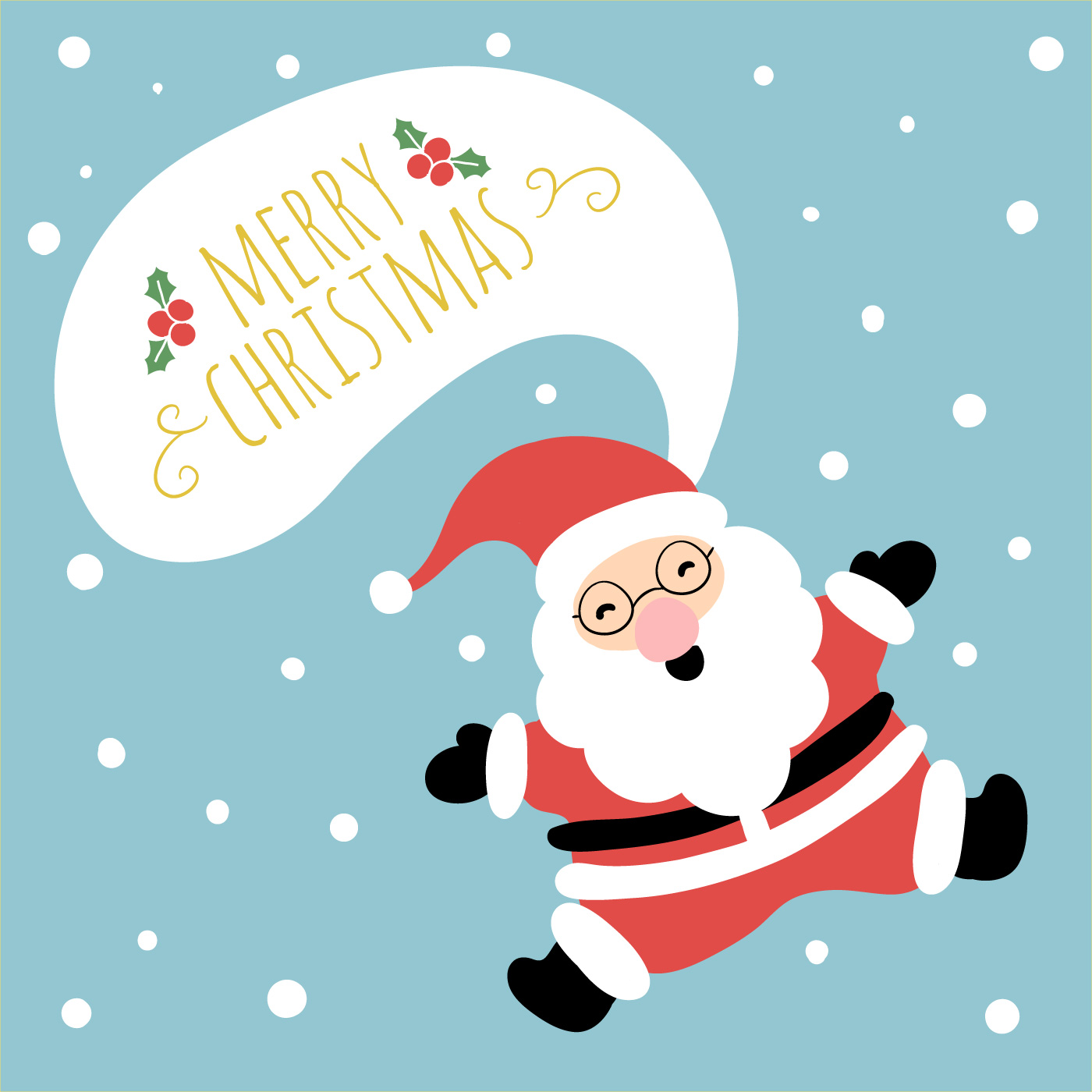 Cute Santa Smiling And Jumping With Speech Bubble ...