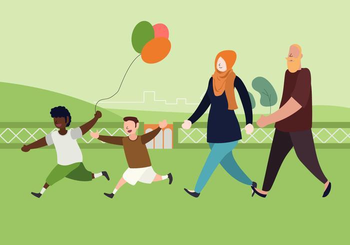 Ilustração plana de família interracial