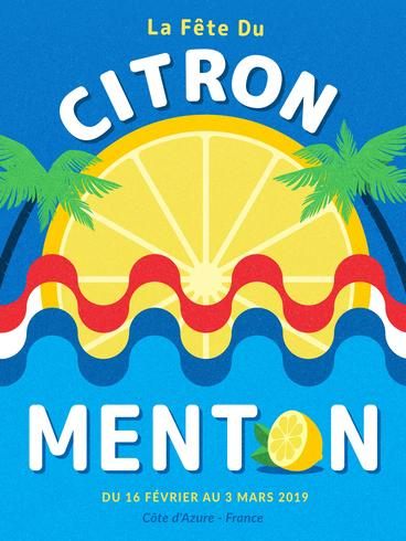 Festival de limón de Menton Francia cartel Vector