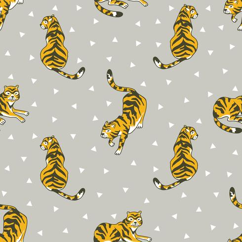 Vector seamless pattern with tigers