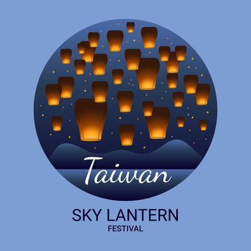Festival delle Lanterne del cielo di Taiwan vettore