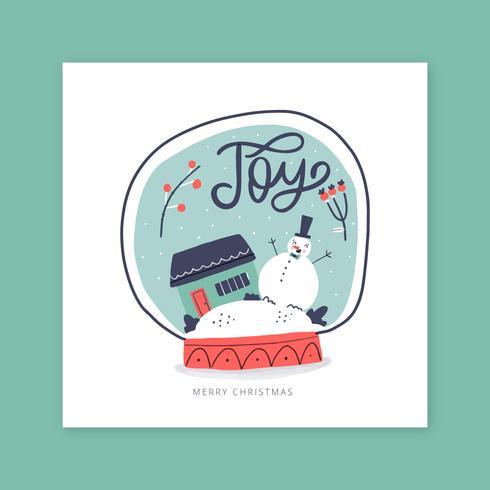 Vidro da bola de neve com boneco de neve para cartão comemorativo