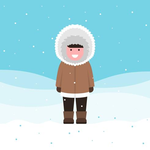 Cute Eskimo Boy Wearing Brown Furry Winter Clothes Illustration