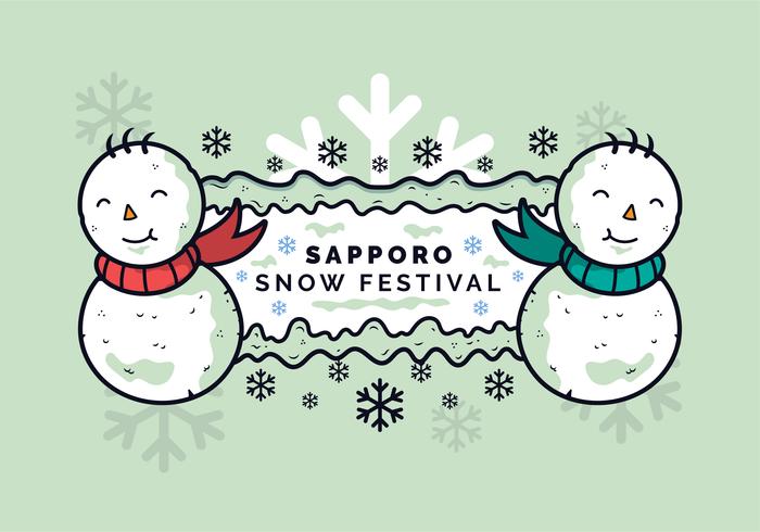 Bannière Bonhommes de neige du festival de la neige de Sapporo vecteur