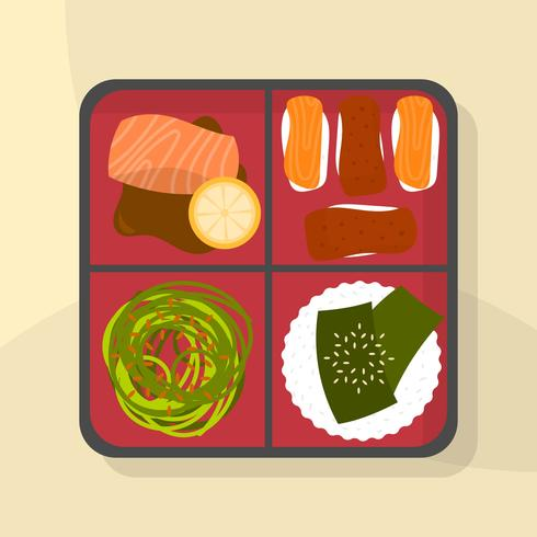Flat Japanese Bento Box Food Vector Illustration