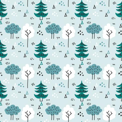 Padrão de vetor de floresta de inverno escandinavo