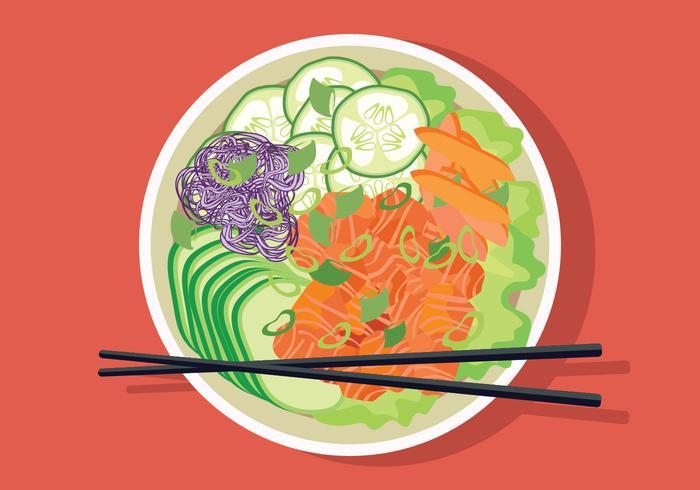 Illustration vectorielle de Poke Bowl