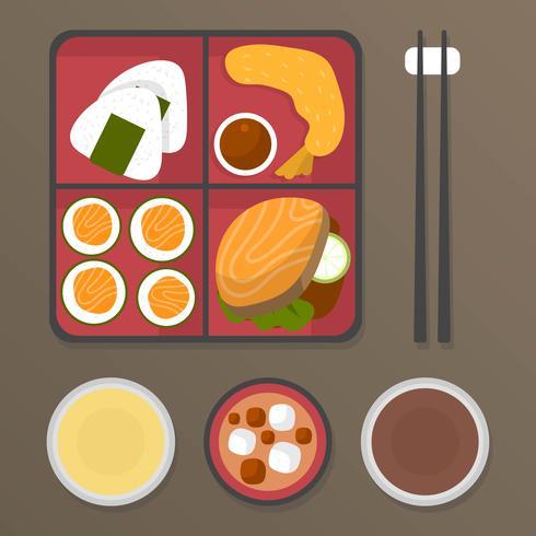 Illustration vectorielle de plats bento boîte repas