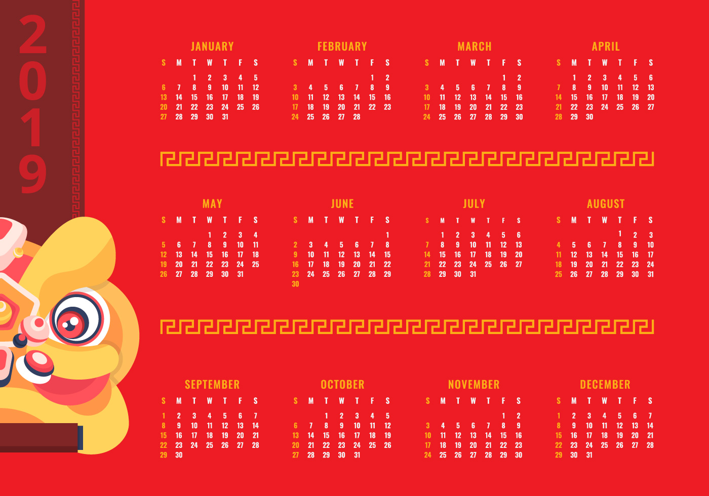 2019 Printable Chinese New Year Calendar - Download Free ...