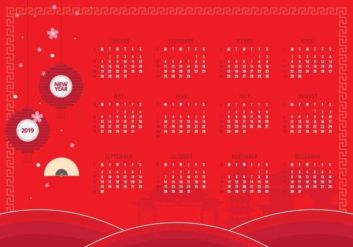 Calendrier imprimable du nouvel an chinois 2019