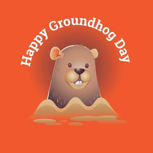 Glückliches Groundhog Day Design mit niedlichem 3D-Groundhog