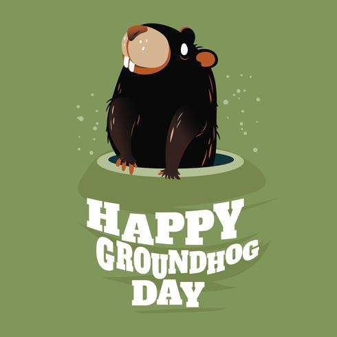 Cute Groundhog Popping up from his Burrow for Happy Groundhog Day