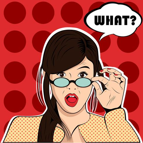 What surprised shocked woman pop art retro style vector
