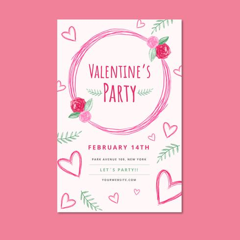 Pink Valentine's Day Flyer Template With Leaves And Heart vector
