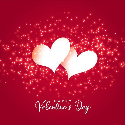 due cuori con sfondo di scintillii per San Valentino
