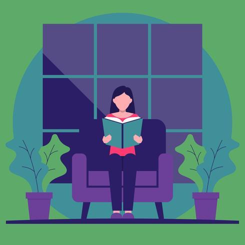 Ragazza che si siede nell'illustrazione di vettore di Bookworm dei libri di lettura della poltrona