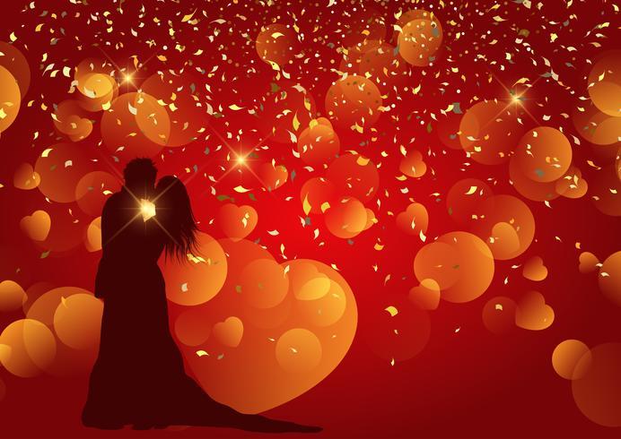 Valentijnsdag achtergrond met silhouet van bruidspaar