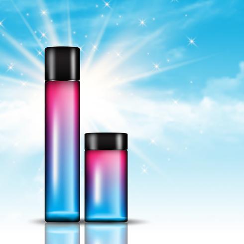 Botellas de cosméticos en un fondo de cielo azul