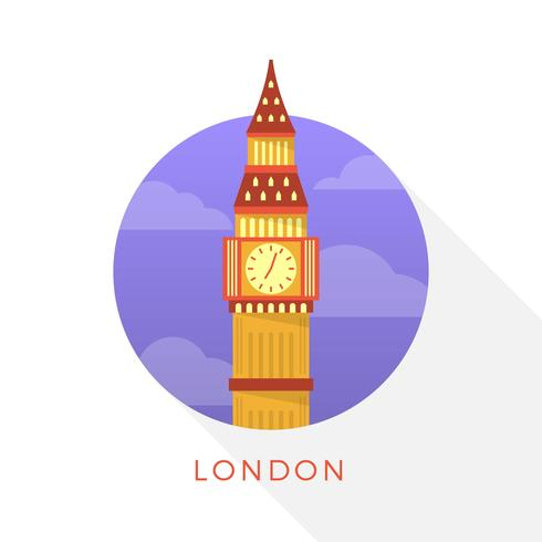 Illustration vectorielle de plat moderne Big Ben London Landmark
