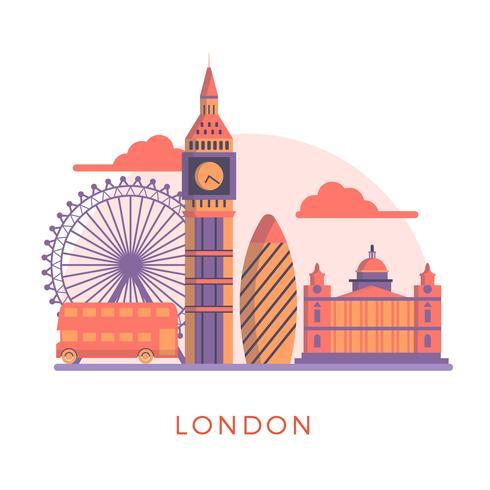 Flat Modern London's Landmarks Vector Illustration