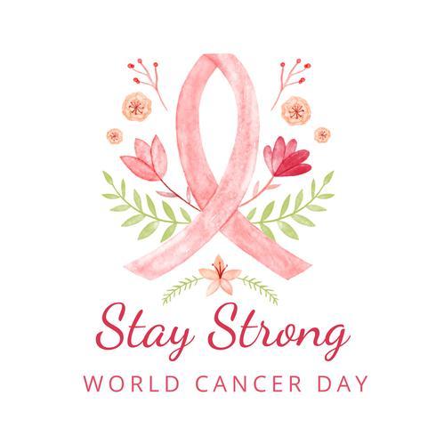 Weltkrebs-Tageshintergrund mit Blättern, Blumen und Zitat